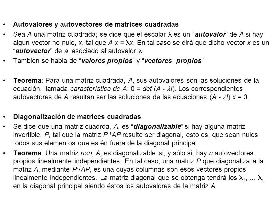 Autovalores y autovectores de matrices cuadradas Sea A una matriz cuadrada; se dice que el escalar es un autovalor de A si hay algún vector no nulo, x