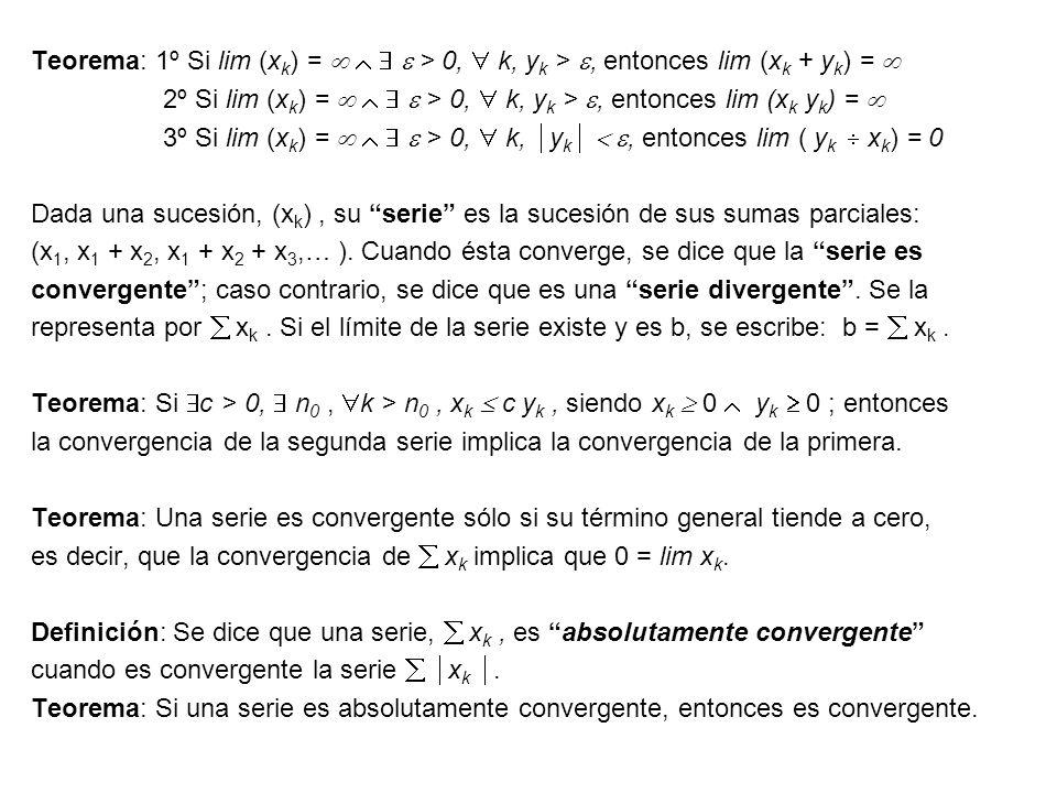 Teorema: 1º Si lim (x k ) = > 0, k, y k >, entonces lim (x k + y k ) = 2º Si lim (x k ) = > 0, k, y k >, entonces lim (x k y k ) = 3º Si lim (x k ) =