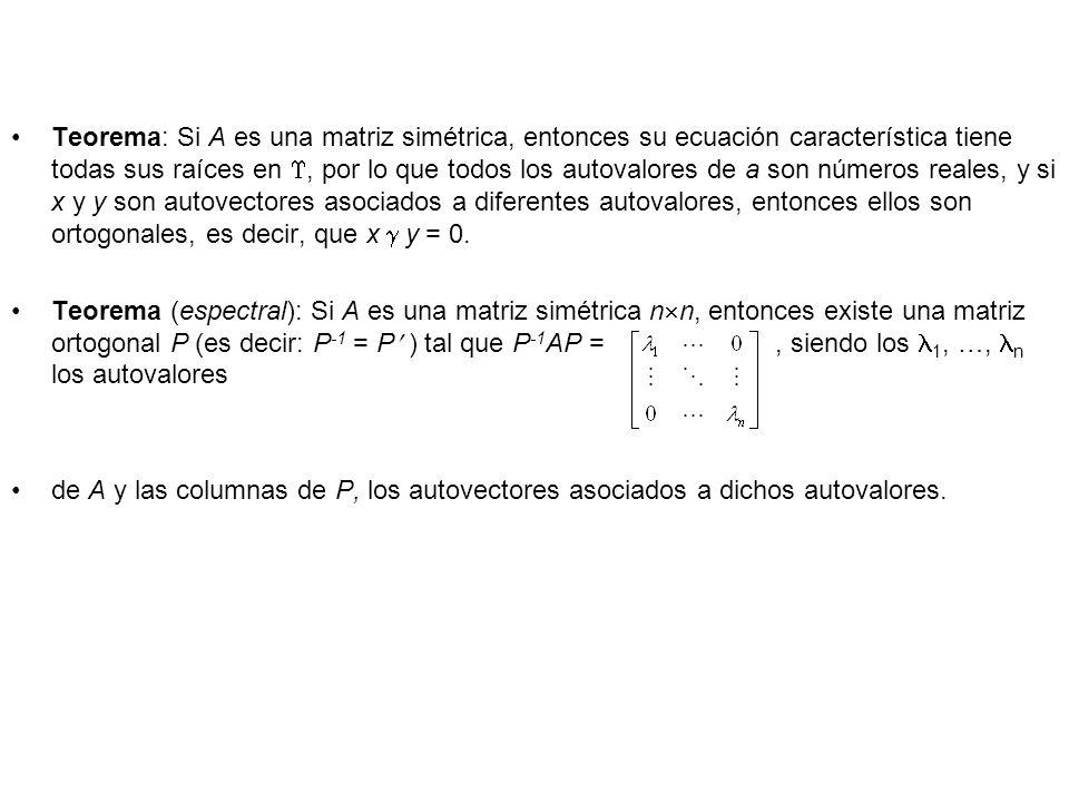 Teorema: Si A es una matriz simétrica, entonces su ecuación característica tiene todas sus raíces en, por lo que todos los autovalores de a son número