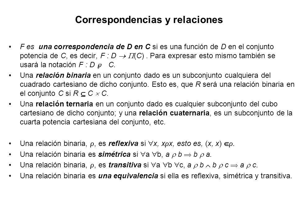 Correspondencias y relaciones F es una correspondencia de D en C si es una función de D en el conjunto potencia de C, es decir, F : D (C). Para expres