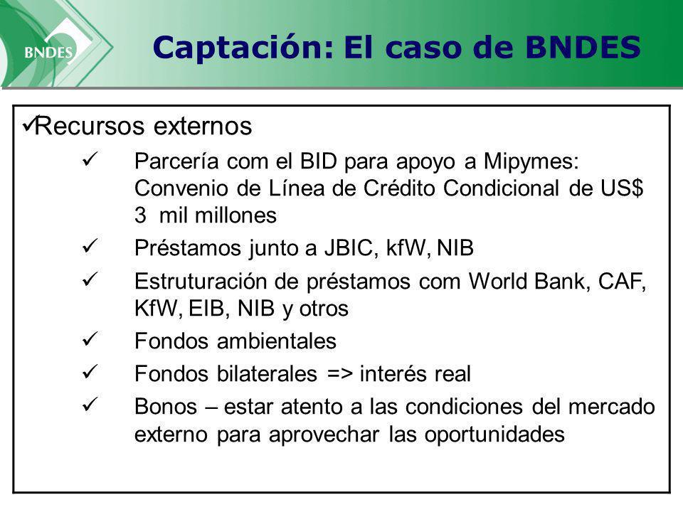 Captación: El caso de BNDES Recursos externos Parcería com el BID para apoyo a Mipymes: Convenio de Línea de Crédito Condicional de US$ 3 mil millones Préstamos junto a JBIC, kfW, NIB Estruturación de préstamos com World Bank, CAF, KfW, EIB, NIB y otros Fondos ambientales Fondos bilaterales => interés real Bonos – estar atento a las condiciones del mercado externo para aprovechar las oportunidades