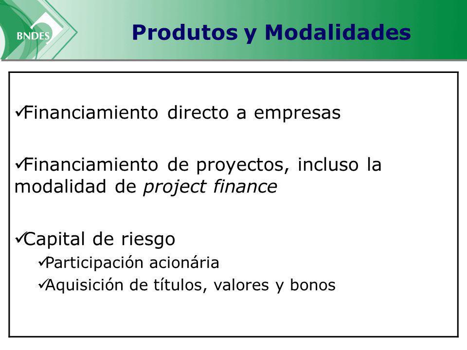 Produtos y Modalidades Financiamiento directo a empresas Financiamiento de proyectos, incluso la modalidad de project finance Capital de riesgo Partic