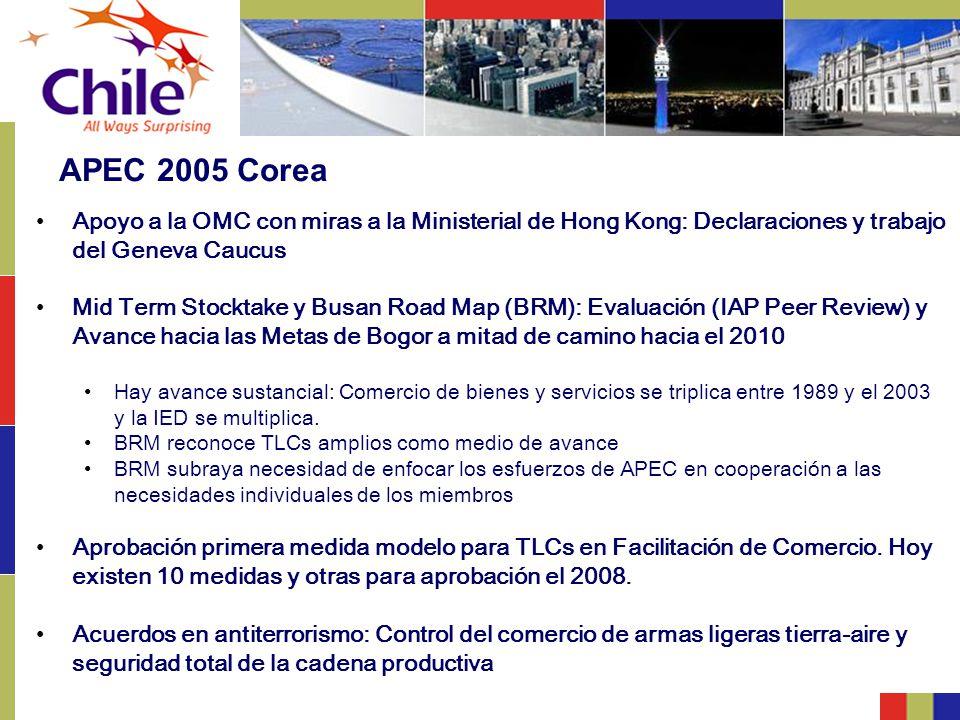 APEC 2005 Corea Apoyo a la OMC con miras a la Ministerial de Hong Kong: Declaraciones y trabajo del Geneva Caucus Mid Term Stocktake y Busan Road Map