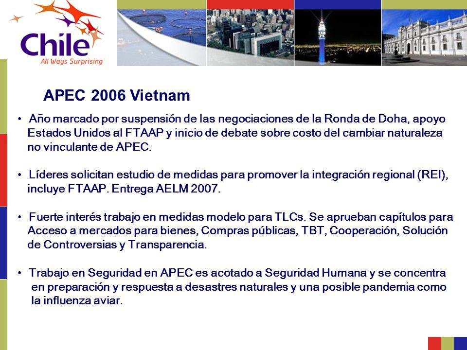 APEC 2006 Vietnam Año marcado por suspensión de las negociaciones de la Ronda de Doha, apoyo Estados Unidos al FTAAP y inicio de debate sobre costo de