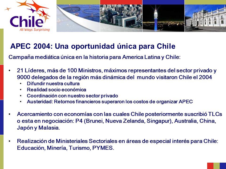 APEC 2004: Una oportunidad única para Chile Campaña mediática única en la historia para America Latina y Chile: 21 Líderes, más de 100 Ministros, máxi