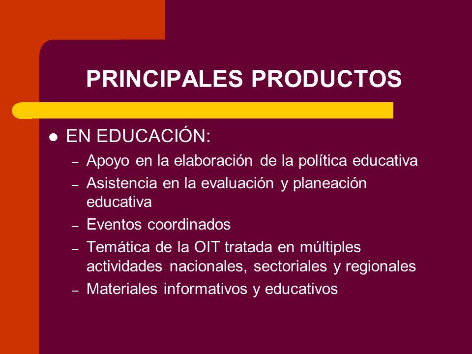 PRINCIPALES PRODUCTOS EN EDUCACIÓN: – Apoyo en la elaboración de la política educativa – Asistencia en la evaluación y planeación educativa – Eventos coordinados – Temática de la OIT tratada en múltiples actividades nacionales, sectoriales y regionales – Materiales informativos y educativos