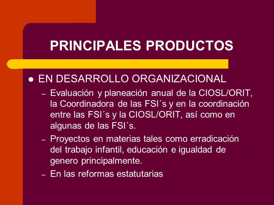 PRINCIPALES PRODUCTOS EN DESARROLLO ORGANIZACIONAL – Evaluación y planeación anual de la CIOSL/ORIT, la Coordinadora de las FSI´s y en la coordinación entre las FSI´s y la CIOSL/ORIT, así como en algunas de las FSI´s.