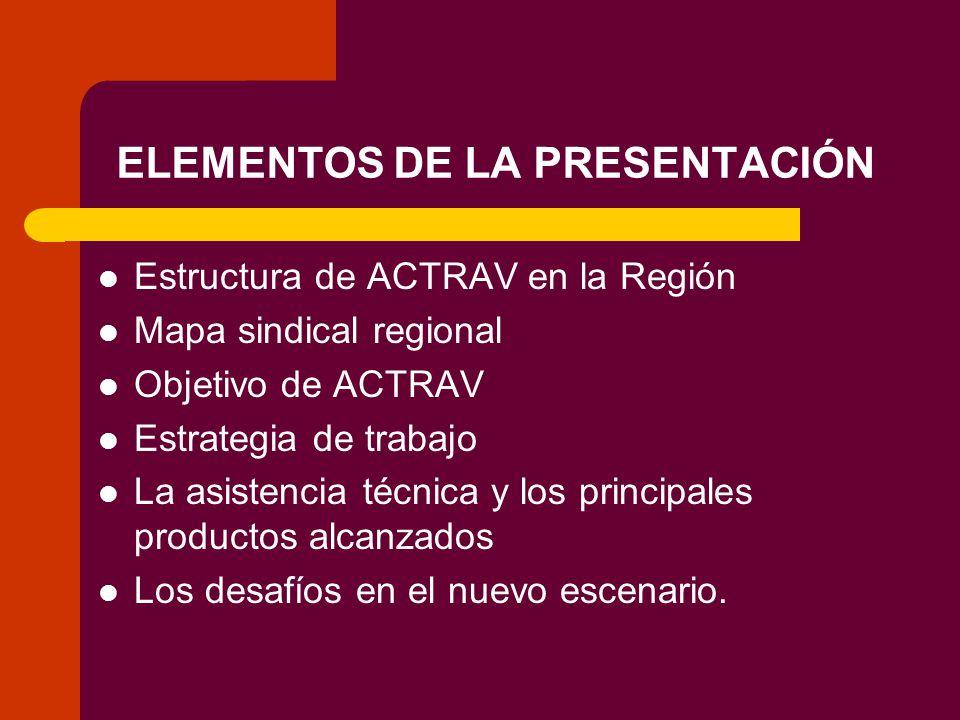 ELEMENTOS DE LA PRESENTACIÓN Estructura de ACTRAV en la Región Mapa sindical regional Objetivo de ACTRAV Estrategia de trabajo La asistencia técnica y los principales productos alcanzados Los desafíos en el nuevo escenario.