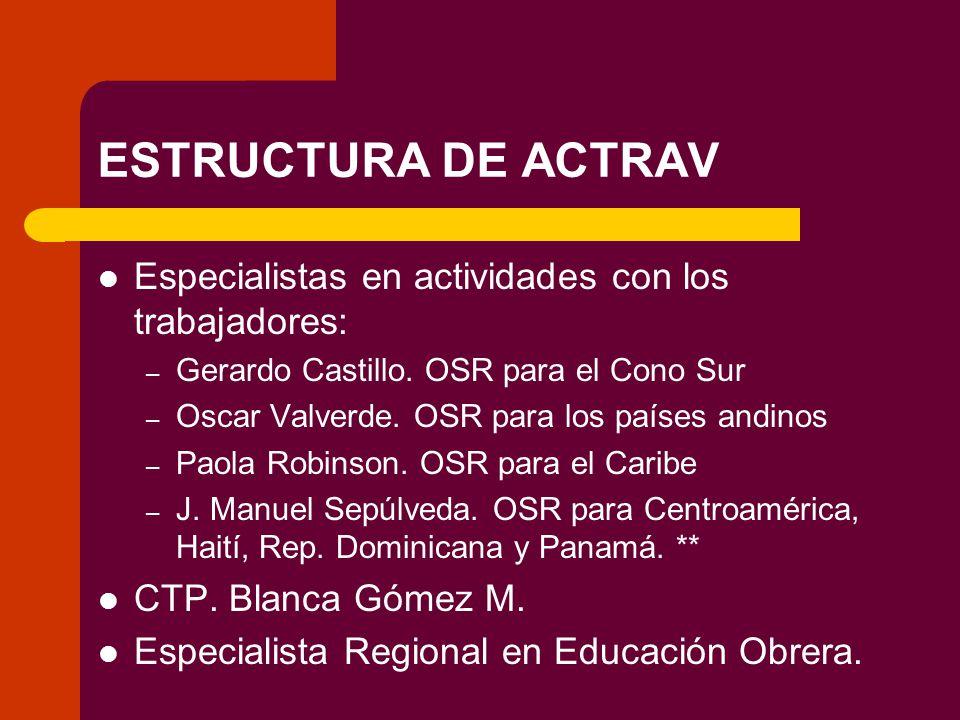 ESTRUCTURA DE ACTRAV Especialistas en actividades con los trabajadores: – Gerardo Castillo.