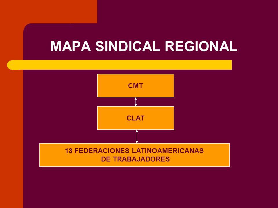 MAPA SINDICAL REGIONAL CMT CLAT 13 FEDERACIONES LATINOAMERICANAS DE TRABAJADORES