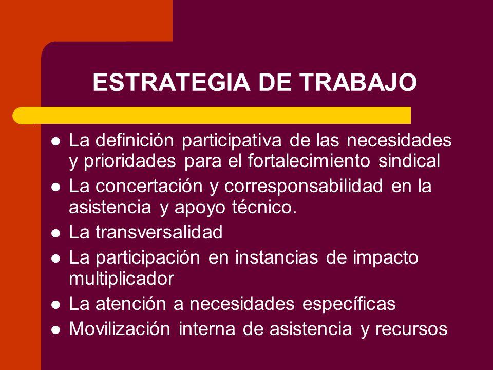 ESTRATEGIA DE TRABAJO La definición participativa de las necesidades y prioridades para el fortalecimiento sindical La concertación y corresponsabilidad en la asistencia y apoyo técnico.