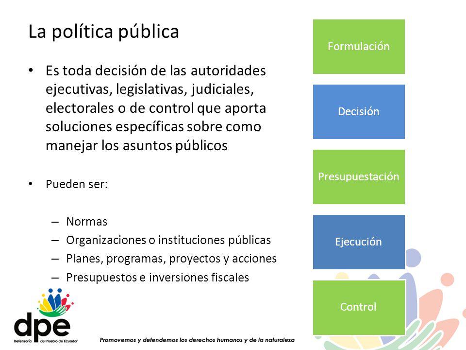 La política pública Es toda decisión de las autoridades ejecutivas, legislativas, judiciales, electorales o de control que aporta soluciones específic