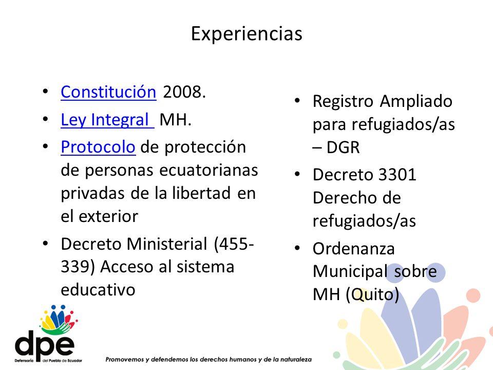 Experiencias Constitución 2008. Constitución Ley Integral MH. Ley Integral Protocolo de protección de personas ecuatorianas privadas de la libertad en
