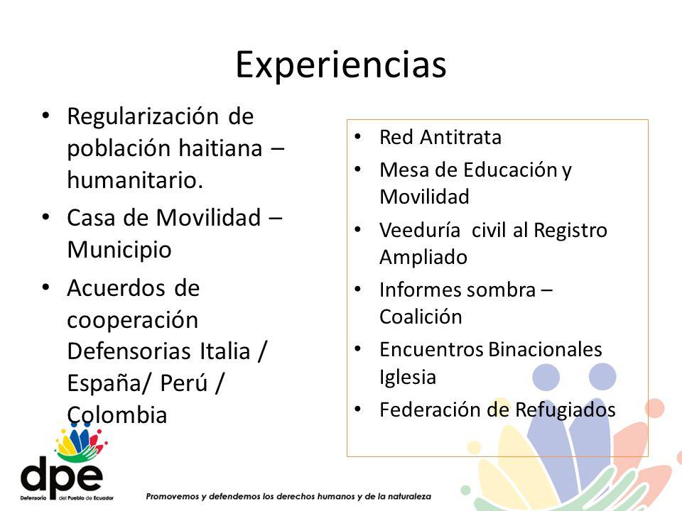 Experiencias Regularización de población haitiana – humanitario. Casa de Movilidad – Municipio Acuerdos de cooperación Defensorias Italia / España/ Pe
