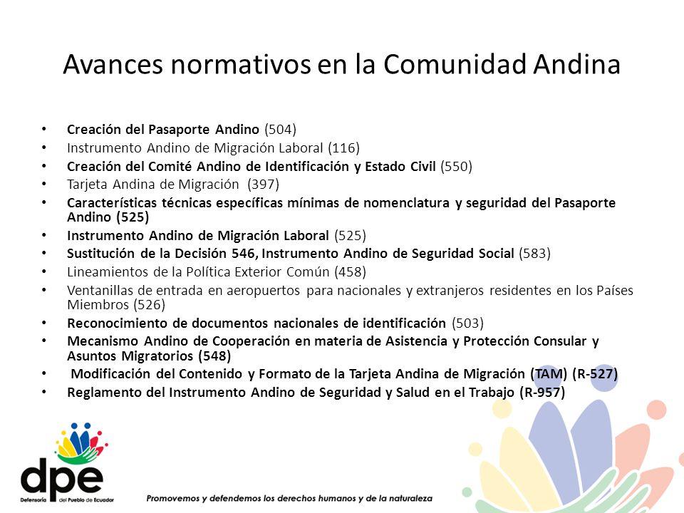 Avances normativos en la Comunidad Andina Creación del Pasaporte Andino (504) Instrumento Andino de Migración Laboral (116) Creación del Comité Andino