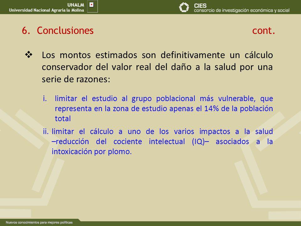UNALM Universidad Nacional Agraria la Molina Los montos estimados son definitivamente un cálculo conservador del valor real del daño a la salud por un
