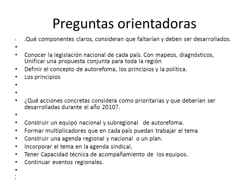 Preguntas orientadoras ¿ Qué componentes claros, consideran que faltarían y deben ser desarrollados.