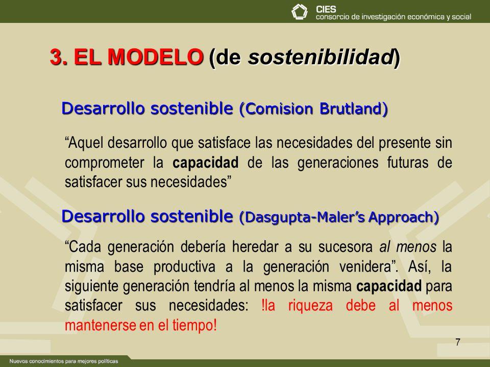 7 Desarrollo sostenible (Comision Brutland) 3. EL MODELO (de sostenibilidad) Aquel desarrollo que satisface las necesidades del presente sin compromet