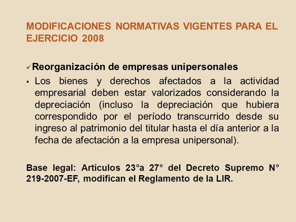 MODIFICACIONES NORMATIVAS VIGENTES PARA EL EJERCICIO 2008 Reorganización de empresas unipersonales Los bienes y derechos afectados a la actividad empr