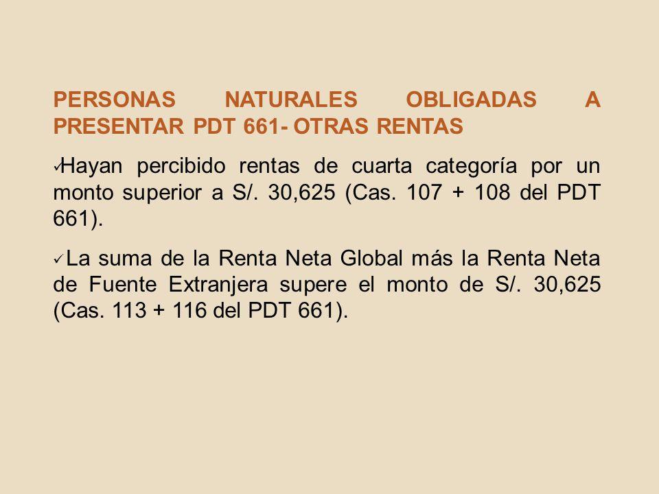 PERSONAS NATURALES OBLIGADAS A PRESENTAR PDT 661- OTRAS RENTAS Hayan percibido rentas de cuarta categoría por un monto superior a S/. 30,625 (Cas. 107