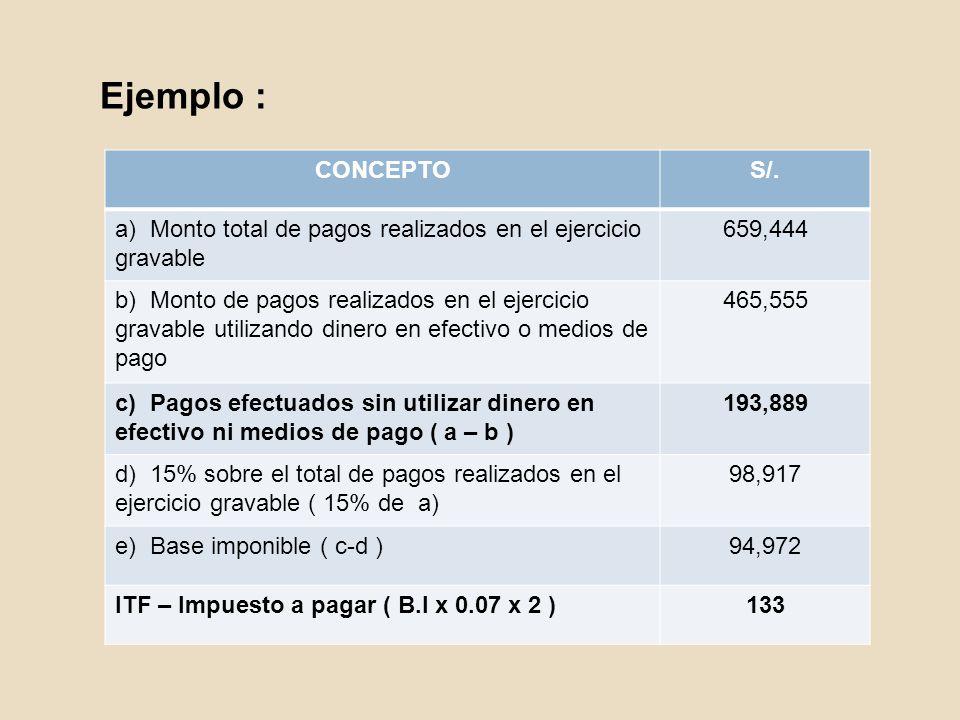 Ejemplo : CONCEPTOS/. a) Monto total de pagos realizados en el ejercicio gravable 659,444 b) Monto de pagos realizados en el ejercicio gravable utiliz