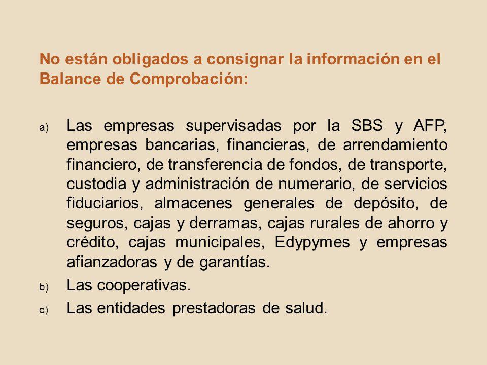 No están obligados a consignar la información en el Balance de Comprobación: a) Las empresas supervisadas por la SBS y AFP, empresas bancarias, financ