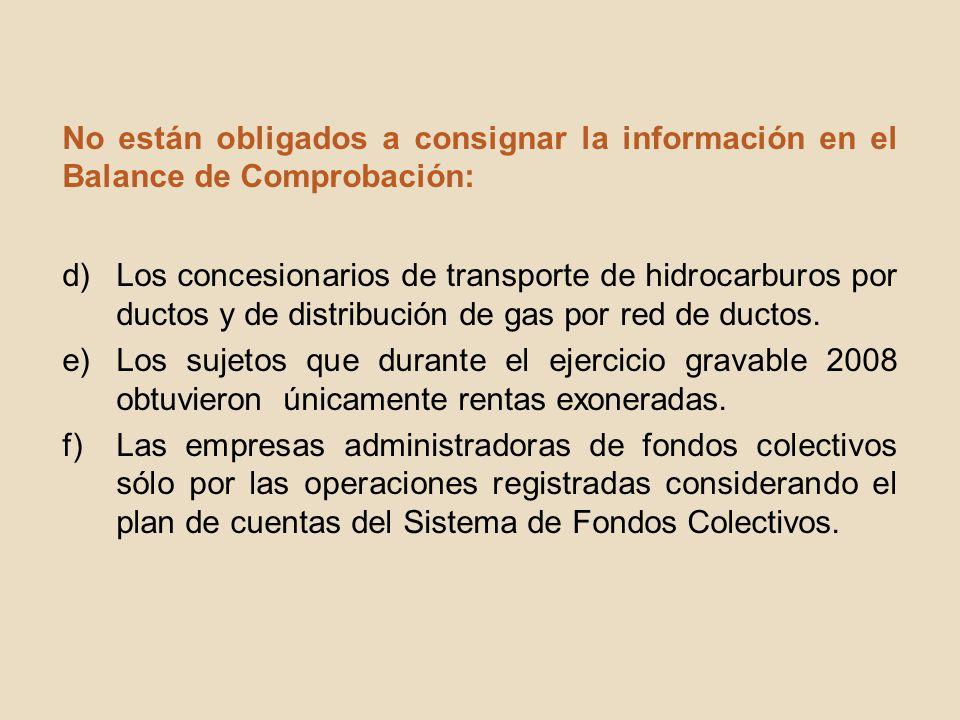 No están obligados a consignar la información en el Balance de Comprobación: d)Los concesionarios de transporte de hidrocarburos por ductos y de distr