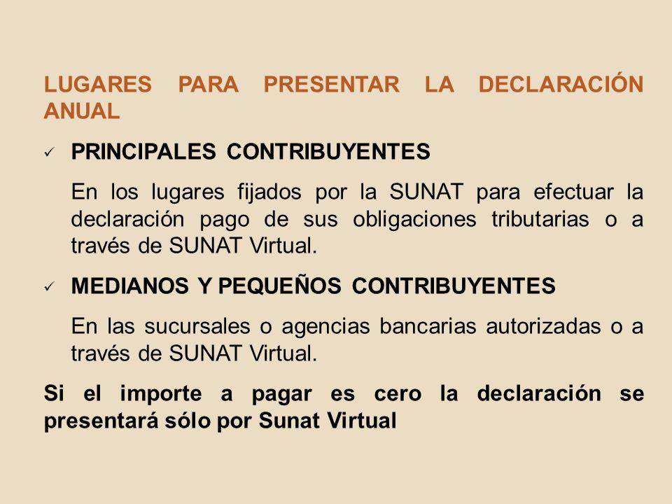 LUGARES PARA PRESENTAR LA DECLARACIÓN ANUAL PRINCIPALES CONTRIBUYENTES En los lugares fijados por la SUNAT para efectuar la declaración pago de sus ob