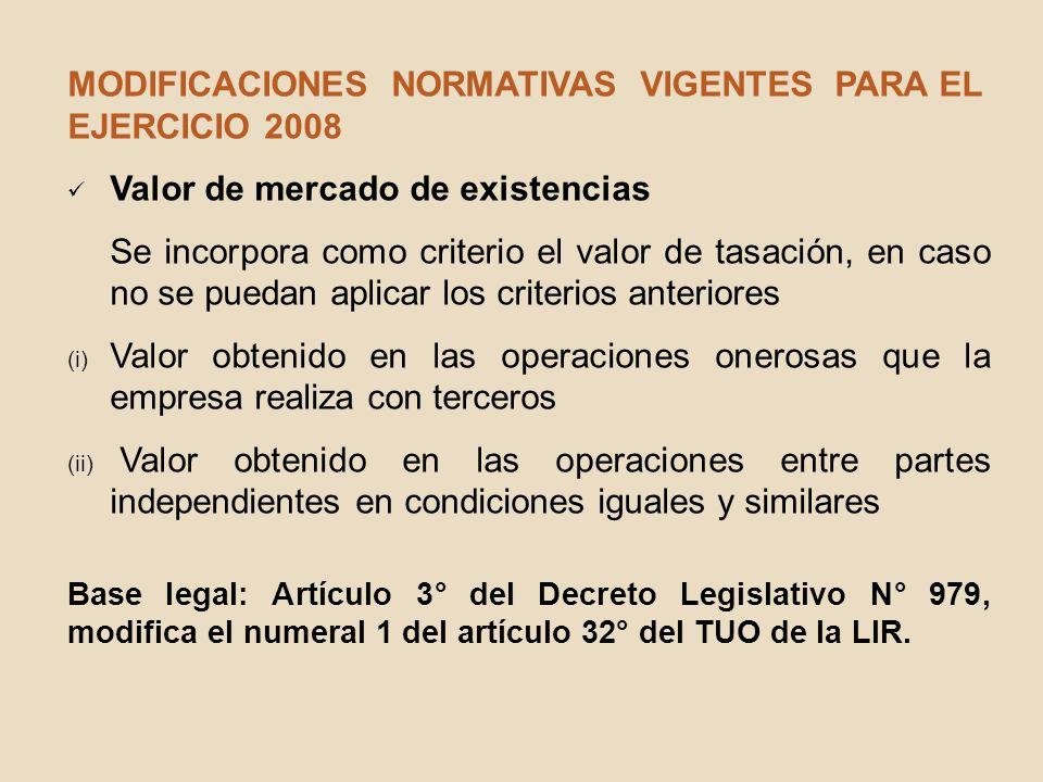 MODIFICACIONES NORMATIVAS VIGENTES PARA EL EJERCICIO 2008 Valor de mercado de existencias Se incorpora como criterio el valor de tasación, en caso no