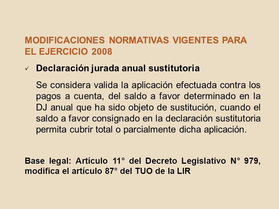 MODIFICACIONES NORMATIVAS VIGENTES PARA EL EJERCICIO 2008 Declaración jurada anual sustitutoria Se considera valida la aplicación efectuada contra los