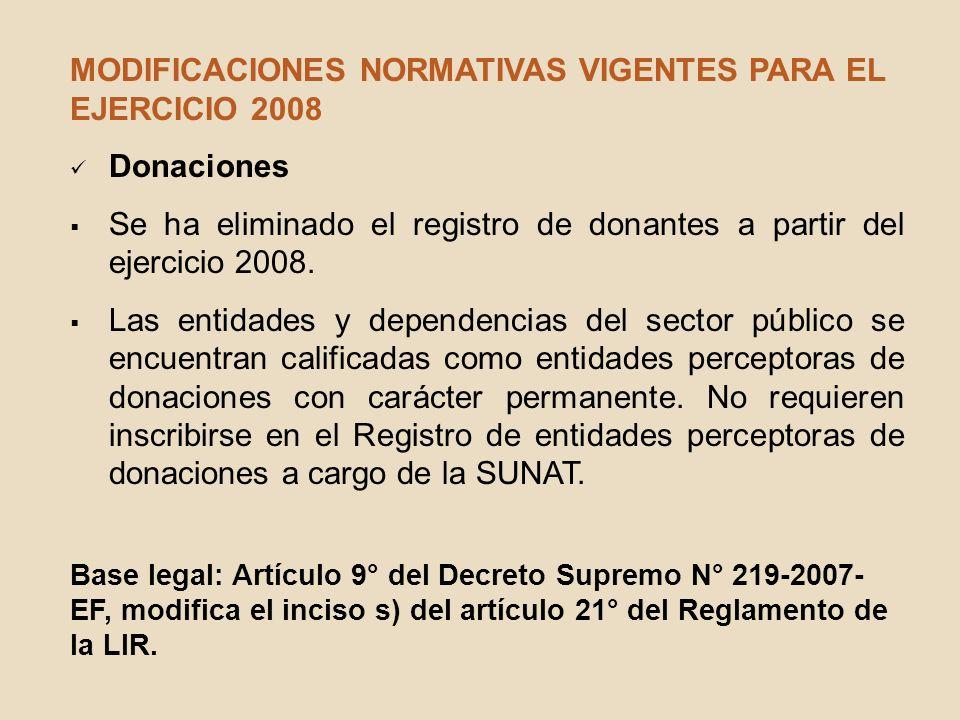 MODIFICACIONES NORMATIVAS VIGENTES PARA EL EJERCICIO 2008 Donaciones Se ha eliminado el registro de donantes a partir del ejercicio 2008. Las entidade