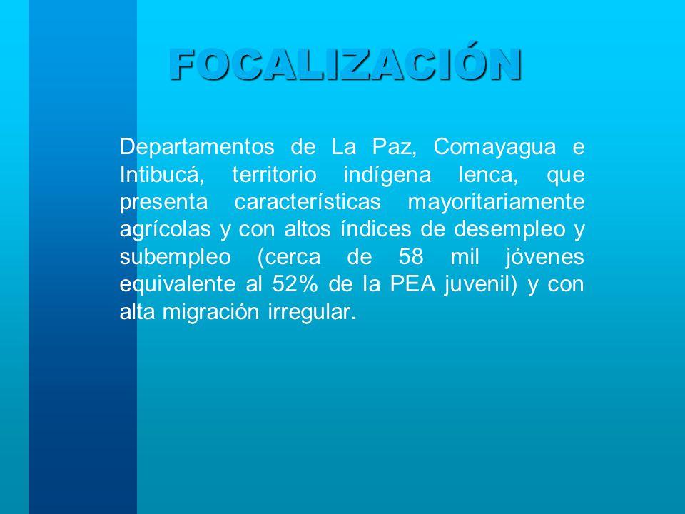FOCALIZACIÓN Departamentos de La Paz, Comayagua e Intibucá, territorio indígena lenca, que presenta características mayoritariamente agrícolas y con altos índices de desempleo y subempleo (cerca de 58 mil jóvenes equivalente al 52% de la PEA juvenil) y con alta migración irregular.