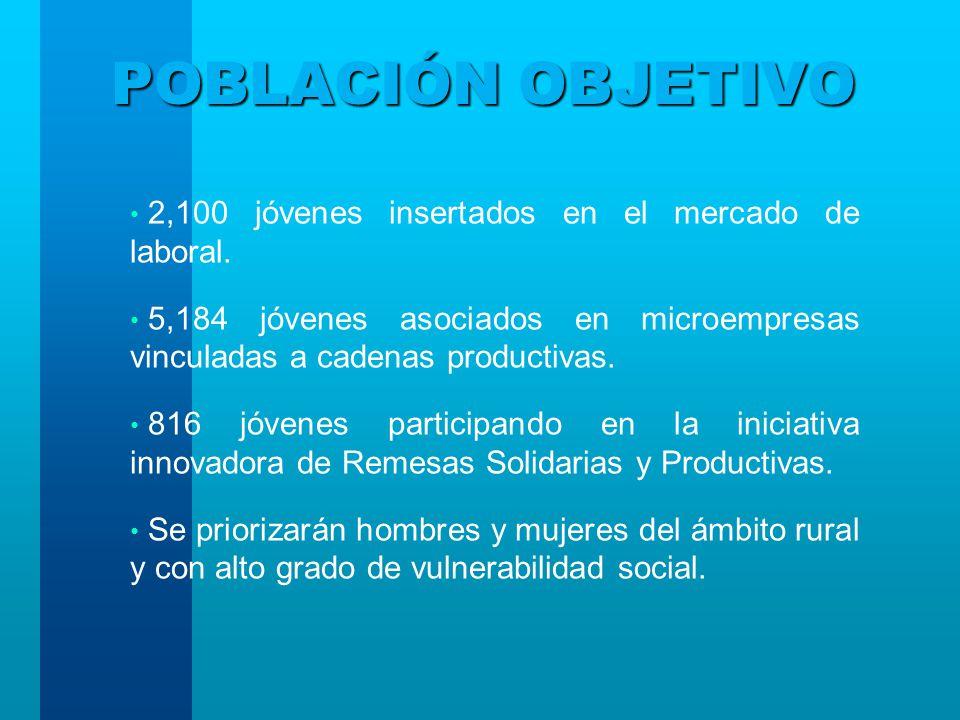 POBLACIÓN OBJETIVO 2,100 jóvenes insertados en el mercado de laboral.