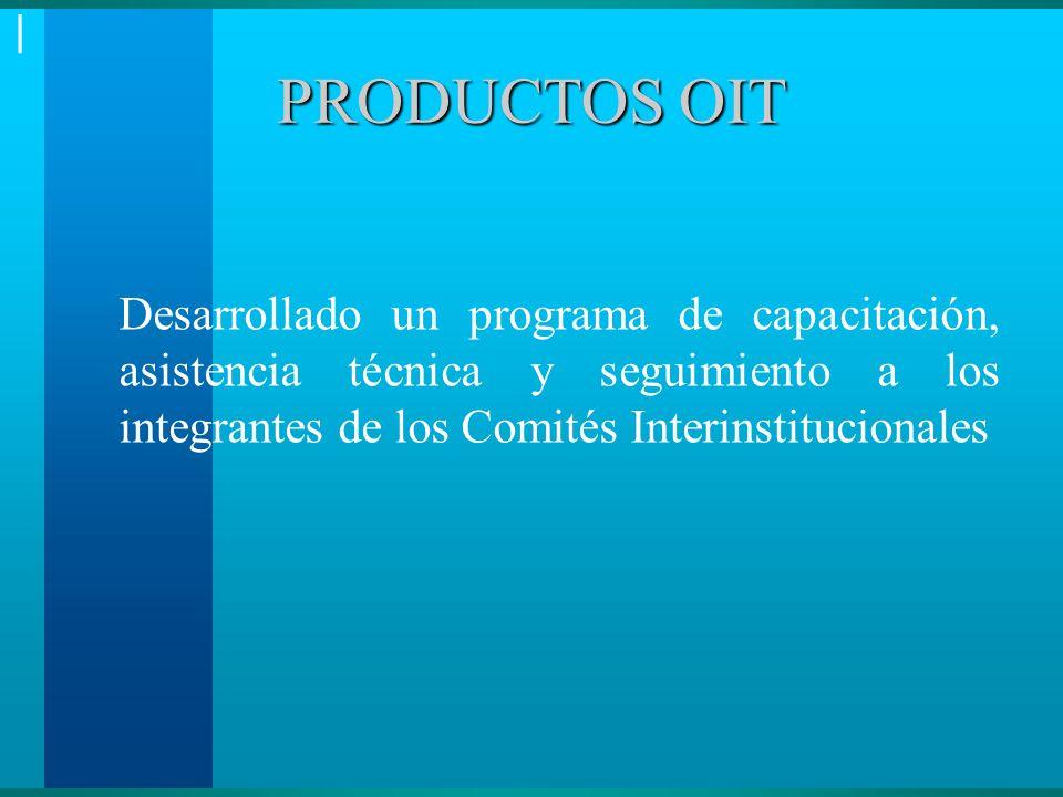 | PRODUCTOS OIT Desarrollado un programa de capacitación, asistencia técnica y seguimiento a los integrantes de los Comités Interinstitucionales