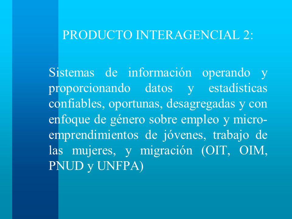 PRODUCTO INTERAGENCIAL 2: Sistemas de información operando y proporcionando datos y estadísticas confiables, oportunas, desagregadas y con enfoque de género sobre empleo y micro- emprendimientos de jóvenes, trabajo de las mujeres, y migración (OIT, OIM, PNUD y UNFPA)