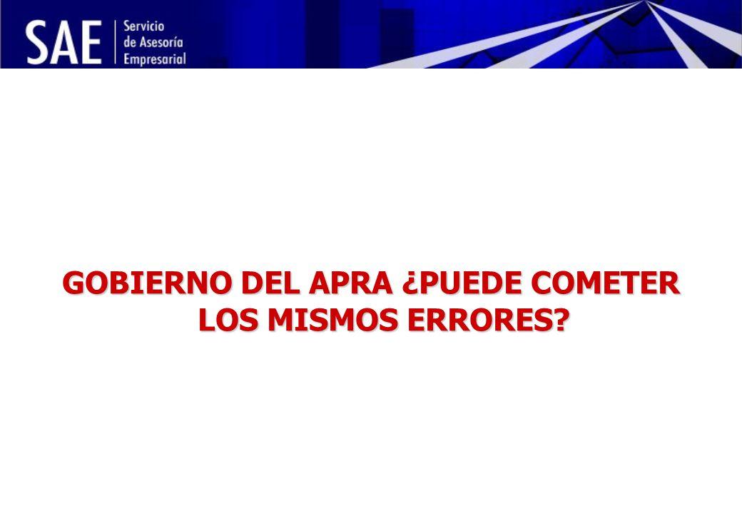 INSTITUCIONALIDAD DE LA POLÍTICA ECONÓMICA Y RIESGO POLÍTICO MAYO, 2006 10 GOBIERNO DEL APRA ¿PUEDE COMETER LOS MISMOS ERRORES?