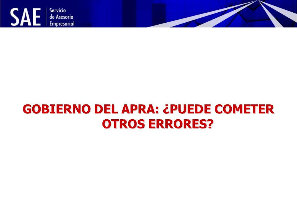 INSTITUCIONALIDAD DE LA POLÍTICA ECONÓMICA Y RIESGO POLÍTICO MAYO, 2006 12 GOBIERNO DEL APRA: ¿PUEDE COMETER OTROS ERRORES?