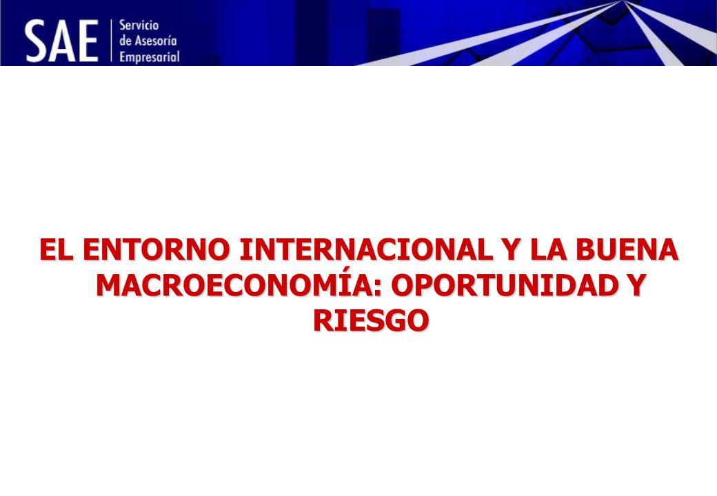 INSTITUCIONALIDAD DE LA POLÍTICA ECONÓMICA Y RIESGO POLÍTICO MAYO, 2006 22 EL ENTORNO INTERNACIONAL Y LA BUENA MACROECONOMÍA: OPORTUNIDAD Y RIESGO