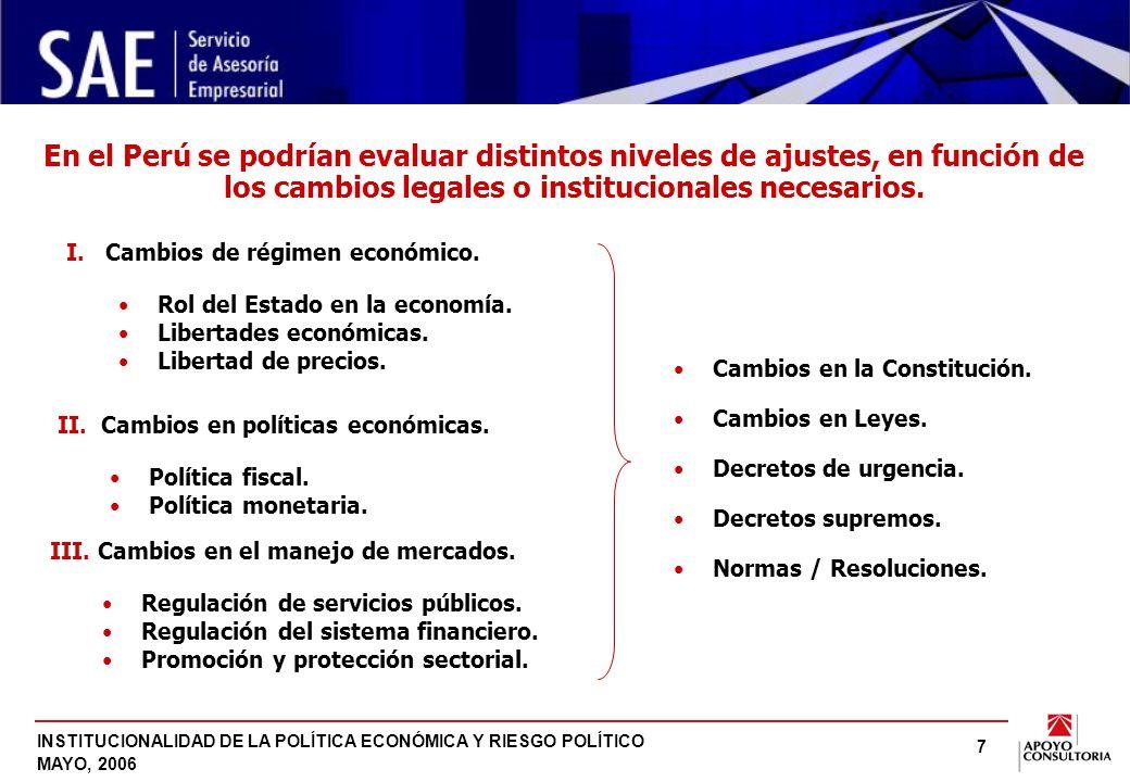 INSTITUCIONALIDAD DE LA POLÍTICA ECONÓMICA Y RIESGO POLÍTICO MAYO, 2006 7 En el Perú se podrían evaluar distintos niveles de ajustes, en función de los cambios legales o institucionales necesarios.