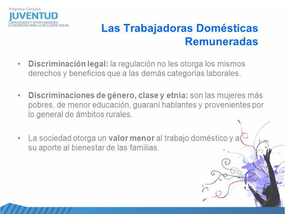 Las Trabajadoras Domésticas Remuneradas Discriminación legal: la regulación no les otorga los mismos derechos y beneficios que a las demás categorías laborales.