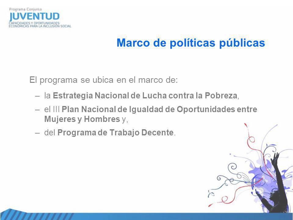 Marco de políticas públicas El programa se ubica en el marco de: –la Estrategia Nacional de Lucha contra la Pobreza, –el III Plan Nacional de Igualdad de Oportunidades entre Mujeres y Hombres y, –del Programa de Trabajo Decente.