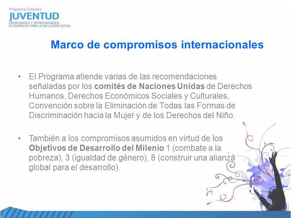 Marco de compromisos internacionales El Programa atiende varias de las recomendaciones señaladas por los comités de Naciones Unidas de Derechos Humanos, Derechos Económicos Sociales y Culturales, Convención sobre la Eliminación de Todas las Formas de Discriminación hacia la Mujer y de los Derechos del Niño.