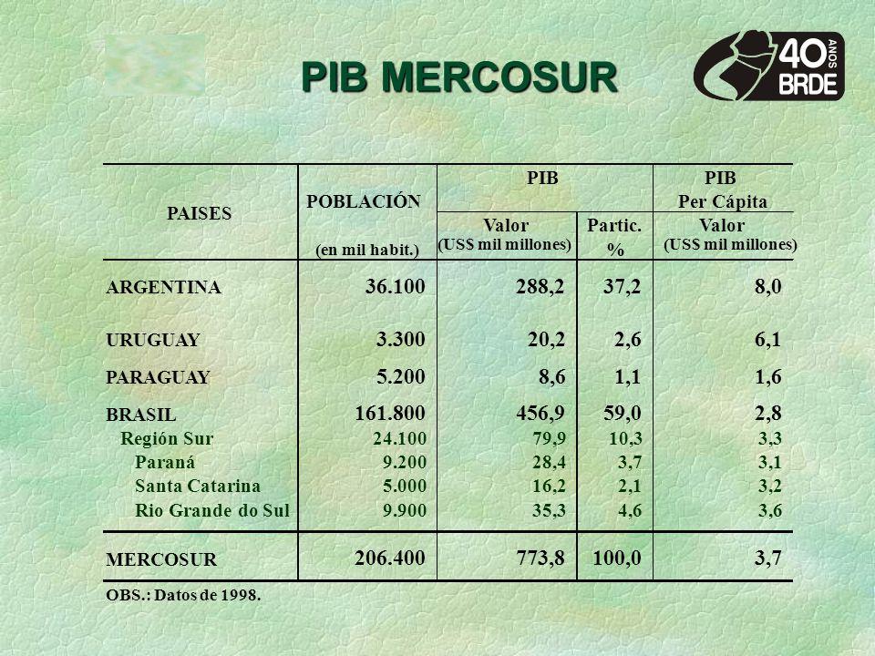 PIB MERCOSUR PIB Per Cápita ValorPartic.Valor (en mil habit.) (US$ mil millones) % ARGENTINA 36.100 288,237,2 8,0 URUGUAY 3.300 20,22,6 6,1 PARAGUAY 5.200 8,61,1 1,6 BRASIL 161.800 456,959,0 2,8 Región Sur24.100 79,910,3 3,3 Paraná9.200 28,43,7 3,1 Santa Catarina5.000 16,22,1 3,2 Rio Grande do Sul9.900 35,34,6 3,6 MERCOSUR 206.400 773,8 100,0 3,7 OBS.: Datos de 1998.