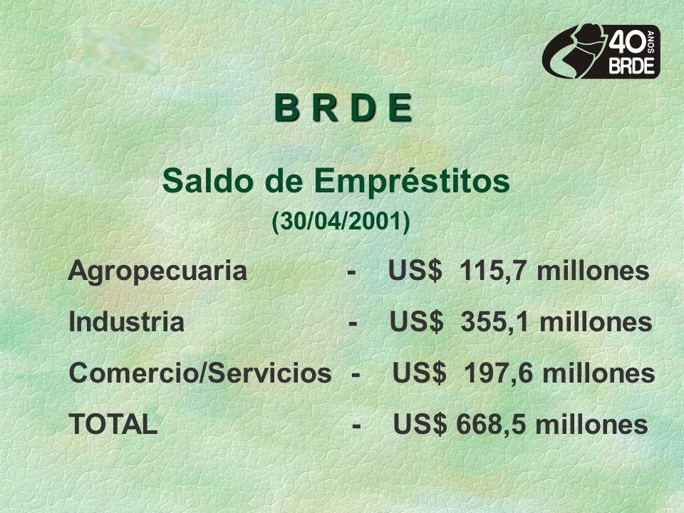 B R D E Saldo de Empréstitos (30/04/2001) Agropecuaria - US$ 115,7 millones Industria - US$ 355,1 millones Comercio/Servicios - US$ 197,6 millones TOTAL - US$ 668,5 millones