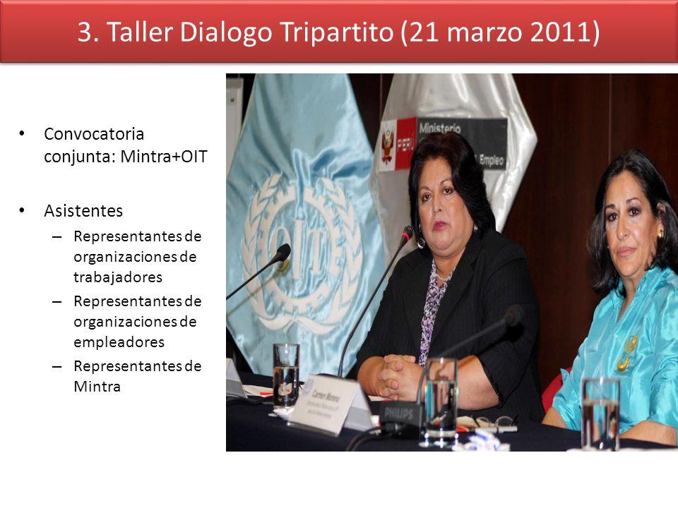3. Taller Dialogo Tripartito (21 marzo 2011) Convocatoria conjunta: Mintra+OIT Asistentes – Representantes de organizaciones de trabajadores – Represe