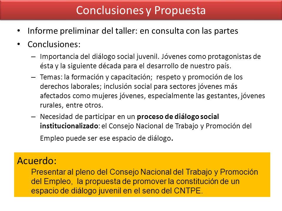 Conclusiones y Propuesta Informe preliminar del taller: en consulta con las partes Conclusiones: – Importancia del diálogo social juvenil. Jóvenes com