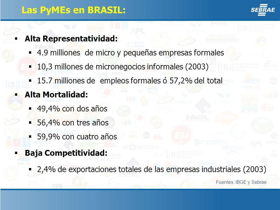 Las PyMEs en BRASIL: Alta Representatividad: 4.9 milliones de micro y pequeñas empresas formales 10,3 millones de micronegocios informales (2003) 15.7 milliones de empleos formales ó 57,2% del total Alta Mortalidad: 49,4% con dos años 56,4% con tres años 59,9% con cuatro años Baja Competitividad: 2,4% de exportaciones totales de las empresas industriales (2003) Fuentes: IBGE y Sebrae