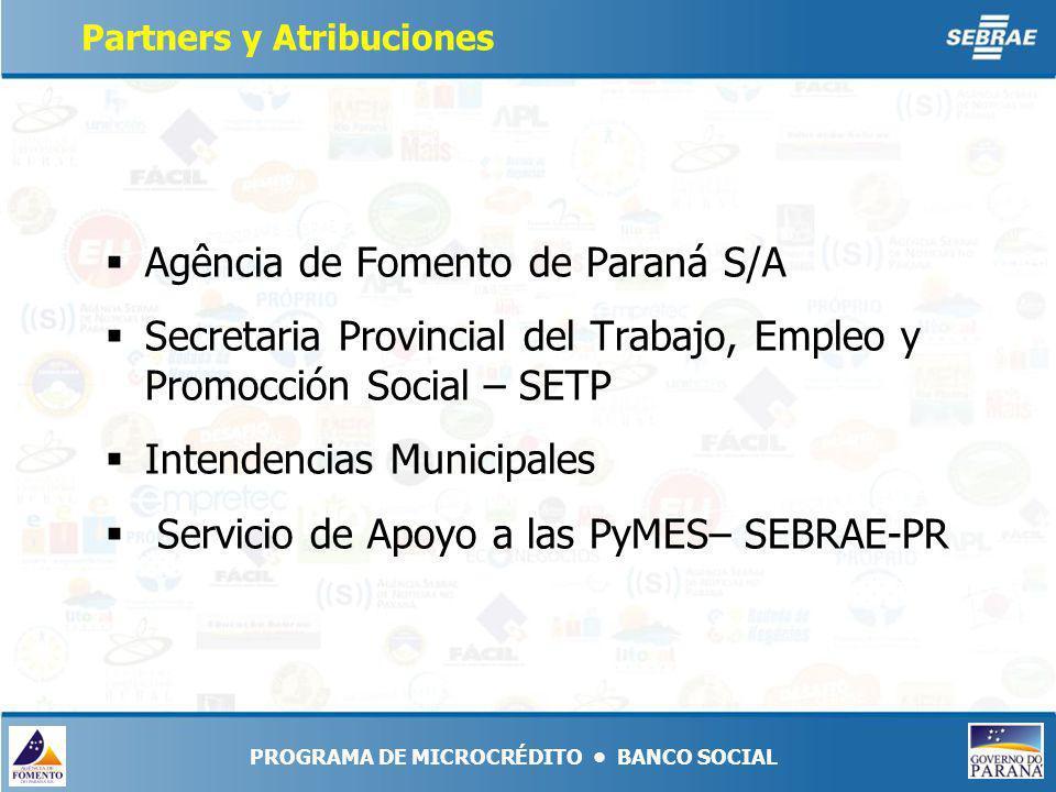 Agência de Fomento de Paraná S/A Secretaria Provincial del Trabajo, Empleo y Promocción Social – SETP Intendencias Municipales Servicio de Apoyo a las PyMES– SEBRAE-PR PROGRAMA DE MICROCRÉDITO BANCO SOCIAL Partners y Atribuciones