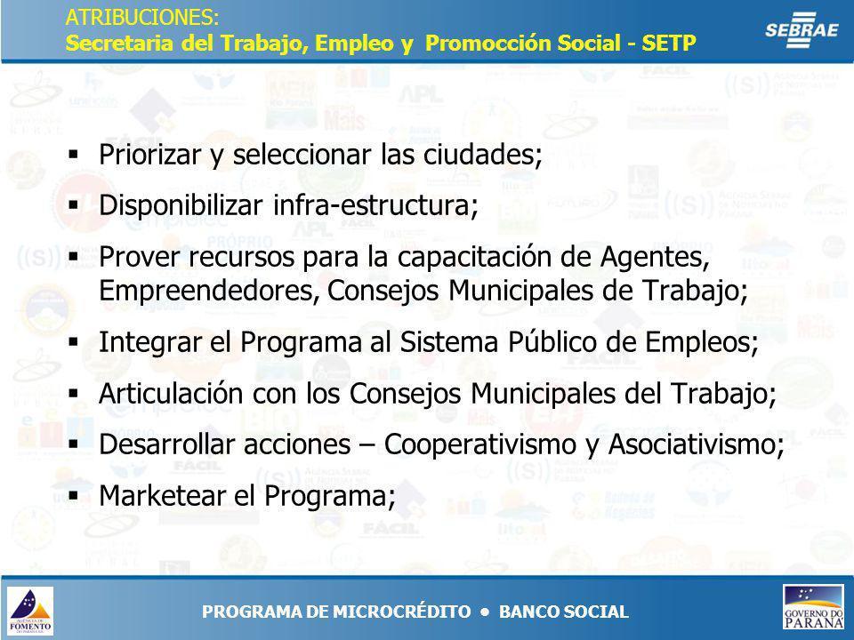 PROGRAMA DE MICROCRÉDITO BANCO SOCIAL ATRIBUCIONES: Secretaria del Trabajo, Empleo y Promocción Social - SETP Priorizar y seleccionar las ciudades; Disponibilizar infra-estructura; Prover recursos para la capacitación de Agentes, Empreendedores, Consejos Municipales de Trabajo; Integrar el Programa al Sistema Público de Empleos; Articulación con los Consejos Municipales del Trabajo; Desarrollar acciones – Cooperativismo y Asociativismo; Marketear el Programa;