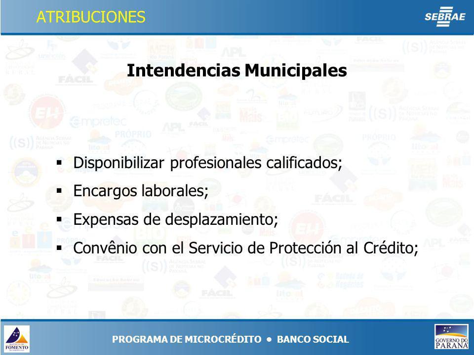 Disponibilizar profesionales calificados; Encargos laborales; Expensas de desplazamiento; Convênio con el Servicio de Protección al Crédito; Intendencias Municipales PROGRAMA DE MICROCRÉDITO BANCO SOCIAL ATRIBUCIONES